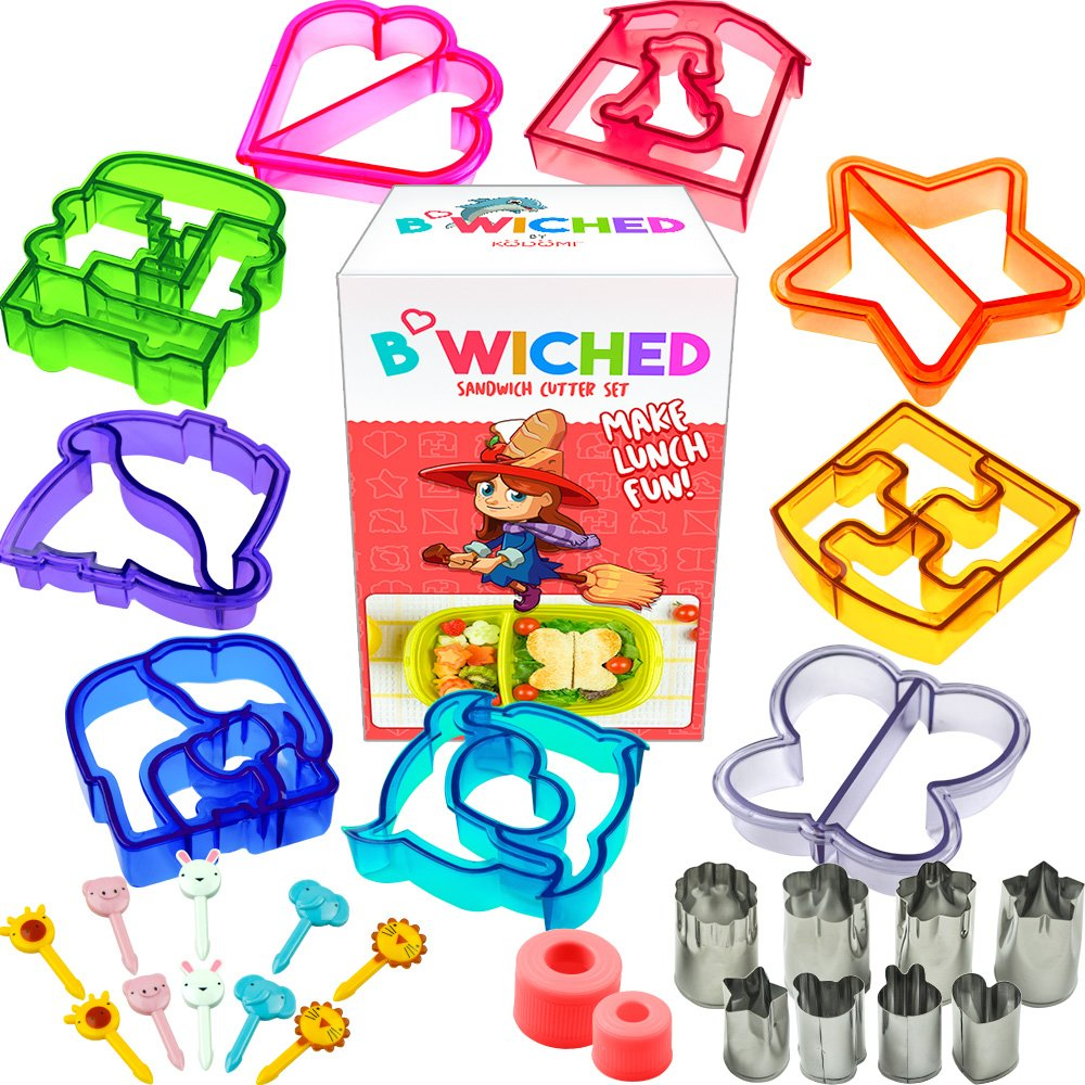 29pc Sandwich Cutter Set for Kids of All Ages - Turn Vegetables, Fruits, Cheese, and Cookie Into Fun Bites - Add to Bento Box - Toddlers Boys & Girls - Easy to Use & Family Friendly