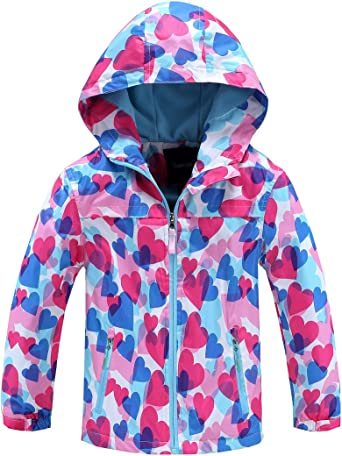M2C Girls Boys Hooded Softshell Pattern Windproof Active Jackets with Composite Mesh