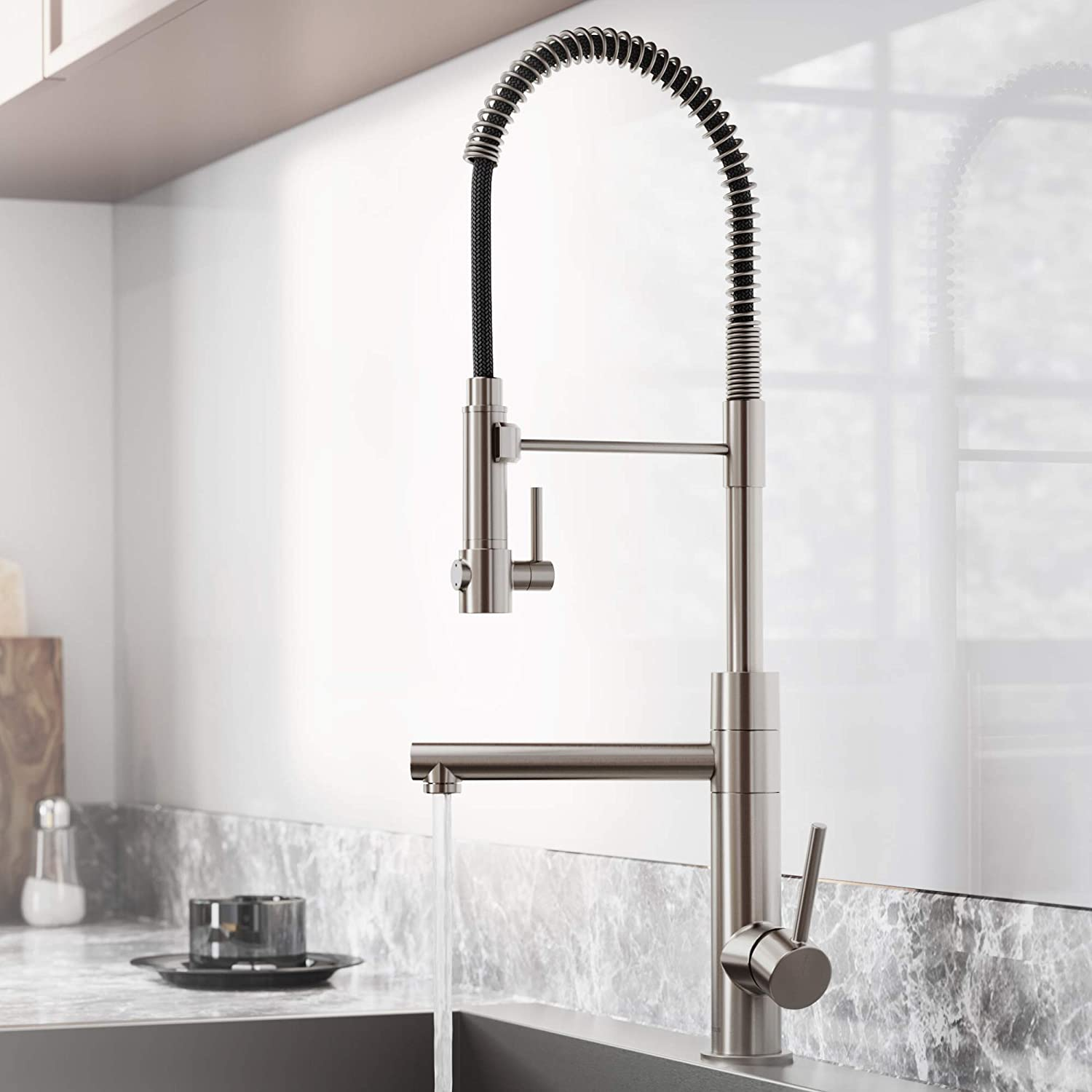 Kraus KPF-1603SFS Atrec Pro Spot Free Stainless Steel Finish 2-Function Commercial Style Pre-Rinse Kitchen Faucet with Pull-Down Spring Spout and Pot Filler 24.75 Inch