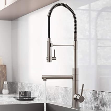 Kraus KPF-1603SFS Atrec Pro Spot Free Stainless Steel Finish 2-Function  Commercial Style Pre-Rinse Kitchen Faucet with Pull-Down Spring Spout and  Pot ...