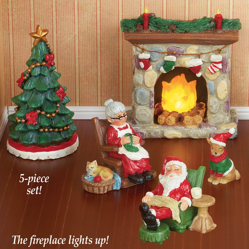 Amazon Mr And Mrs Claus Miniature Christmas Village Figurine Set Home Kitchen