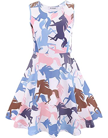 b1abc53d317 ... Plastic Hat Party Favor · JK Unicorn Girls Dresses Complete Unicorn  Pattern sleeveless Dress