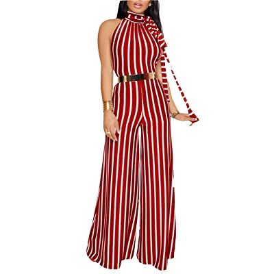 FOXRED Womens Sexy Open Back Jumpsuit High Waist Striped Wide Leg Long Rompers
