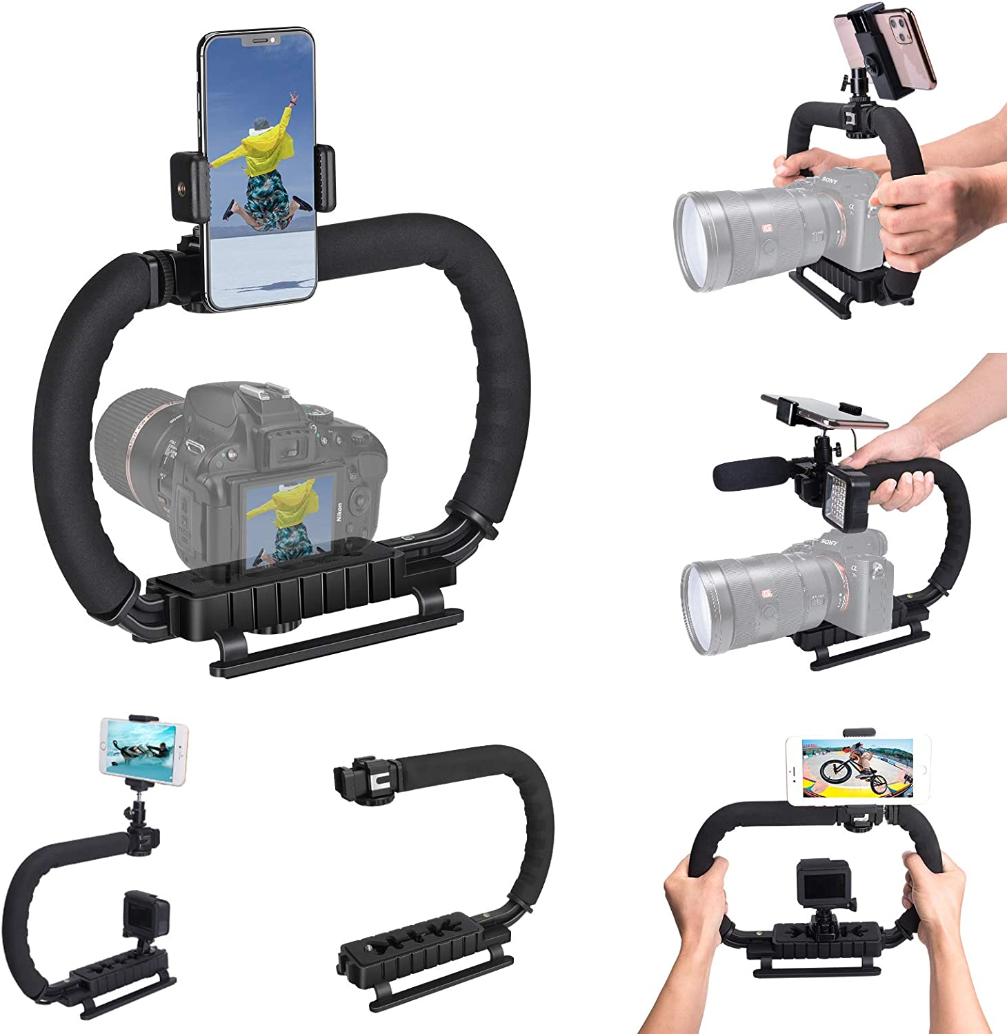 DSLR/Mirrorless/Action Camera Camcorder Phone Stabilizer 3-Shoe 2-Handed Vlog Video Holder Rig Low Position Shooting Steadycam Mount Detachable Grip Fit for GoPro Sony Canon Nikon DV iPhone Samsung : Camera & Photo