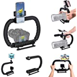 DSLR/Mirrorless/Action Camera Camcorder Phone Stabilizer 3-Shoe 2-Handed Vlog Video Holder Rig Low Position Shooting…