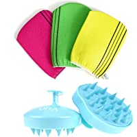 Korean Exfoliating Bath Washcloth 3 pcs with Hair Washing Brush, Hair Comb and Body Scalp Massager for Hair SPA…