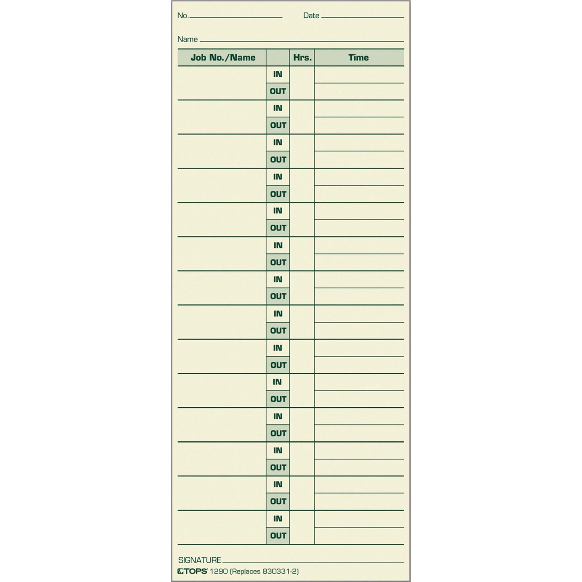 TOPS Job Cards, 2-Sided, 3-1/2'' x 8-1/2'', Manila, Green Print Front/Back, 500-Count (1290)