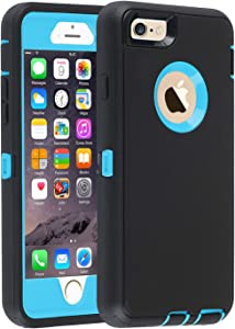 Co-Goldguard Case for iPhone 6/6s,Heavy Duty 3 in 1 Built-in Screen Protector Durable Cover Dust-Proof Shockproof Drop-Proof Scratch-Resistant Shell for Apple iPhone 6/6s 4.7 inch,Black&Blue