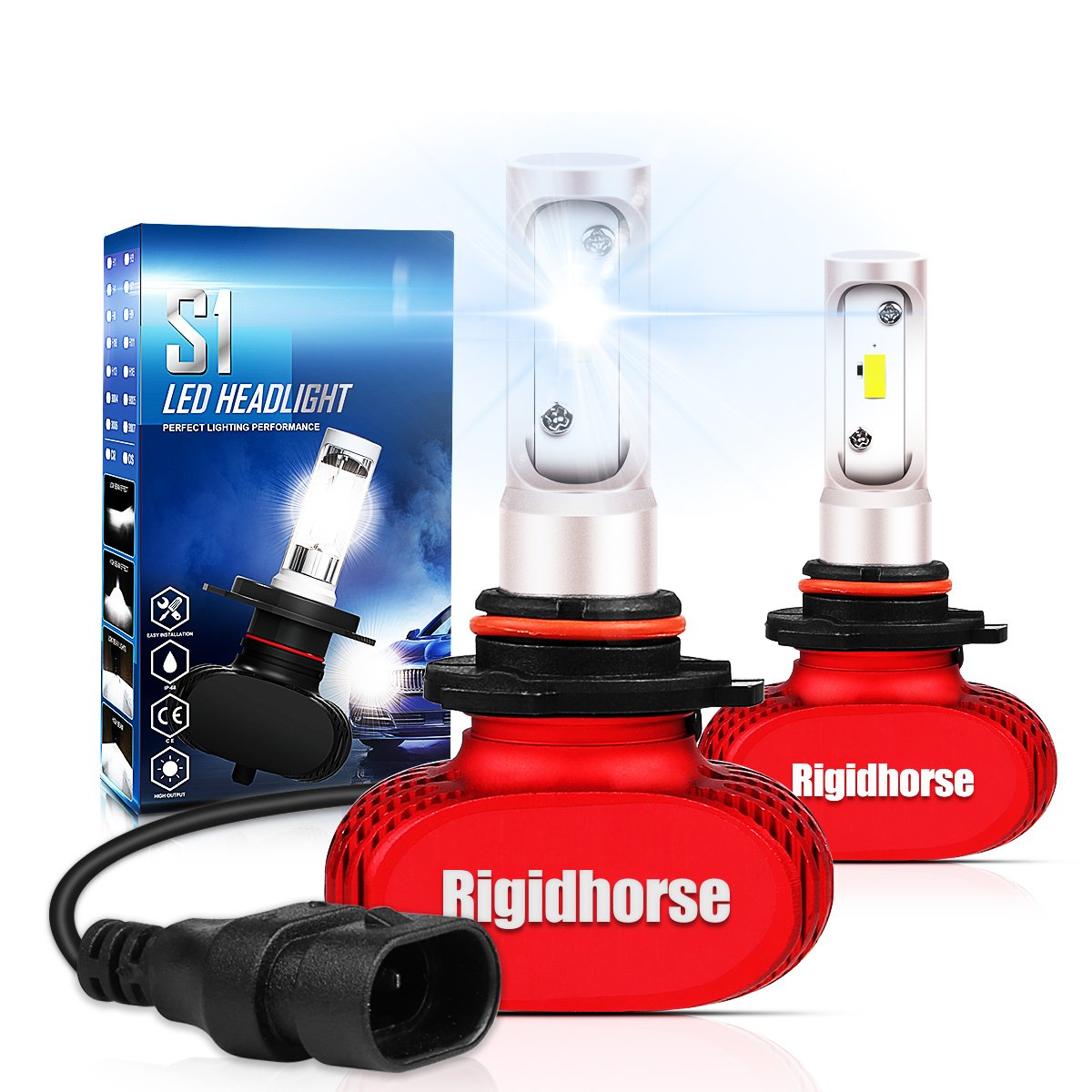 Rigidhorse H11(H9,H8) LED Headlight Bulbs With CSP Chips 60W 8500LM 6500K Cool White LED Headlight Bulbs All-in-One Conversion Kit, Black, 2 Years Warranty H11/H8/H9/H16(JP)