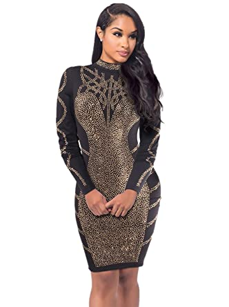 5e653af6a5 Women Rhinestone Long Sleeve High Neck Bodycon Midi Cocktail Dress