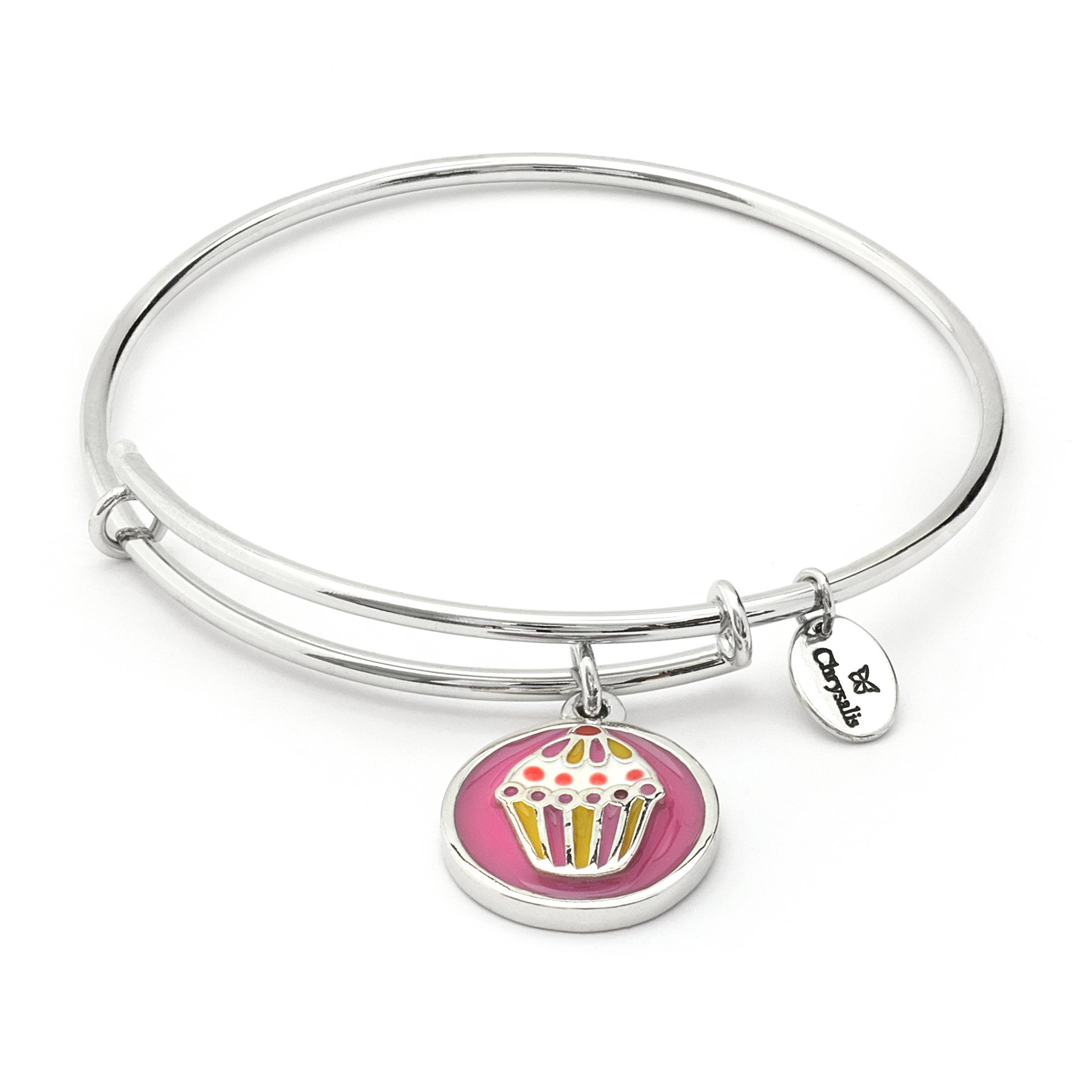 Cute Summer Cupcake Charm Stackable Expandable Bangle Bracelet for Girls & Kids,Silver Pink Colorful