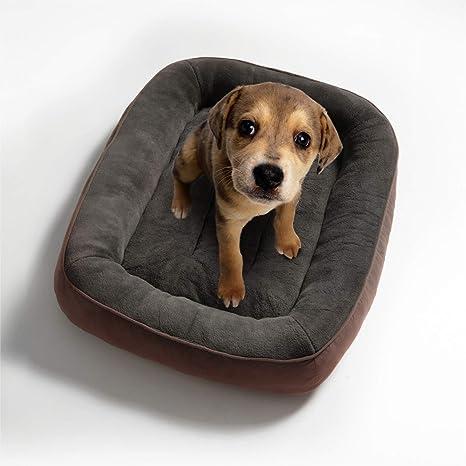Bedsure Cama para Perros Pequeños Lavable M - Colchon Perro Cómoda de Felpa Muy Suave - Sofá de Perro 81x58x18cm,Marrón