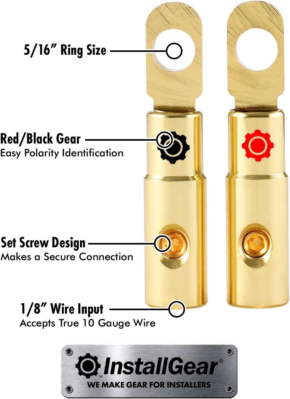 InstallGear 4 AWG Gauge Gold Ring Set Screw Battery Ring Terminals 4 Pack