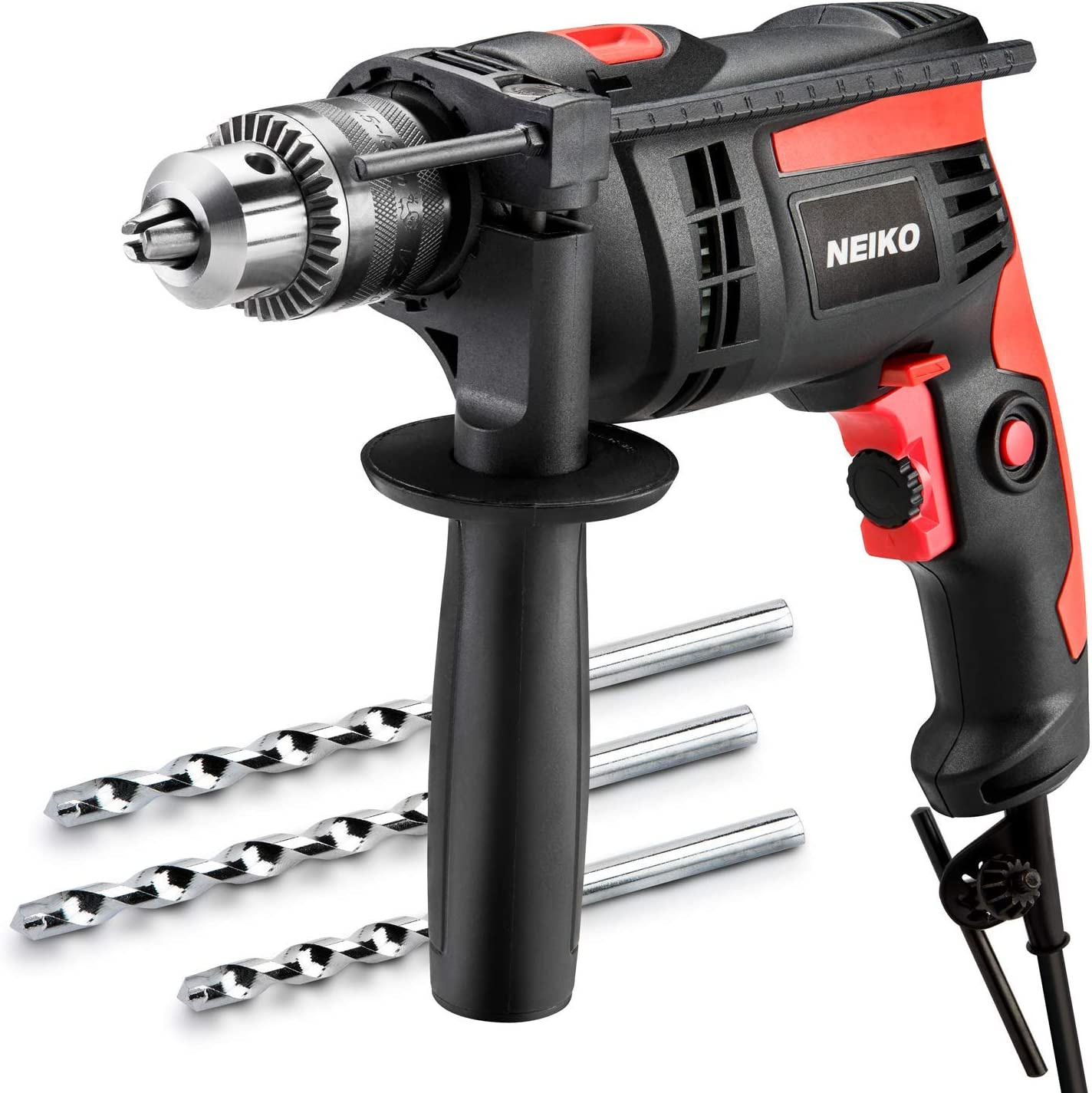 Neiko 10503A 6.0 Amp Corded Hammer Drill, 1 2-Inch Chuck, 2,800 RPM Metal, Wood, Masonry Variable Speed