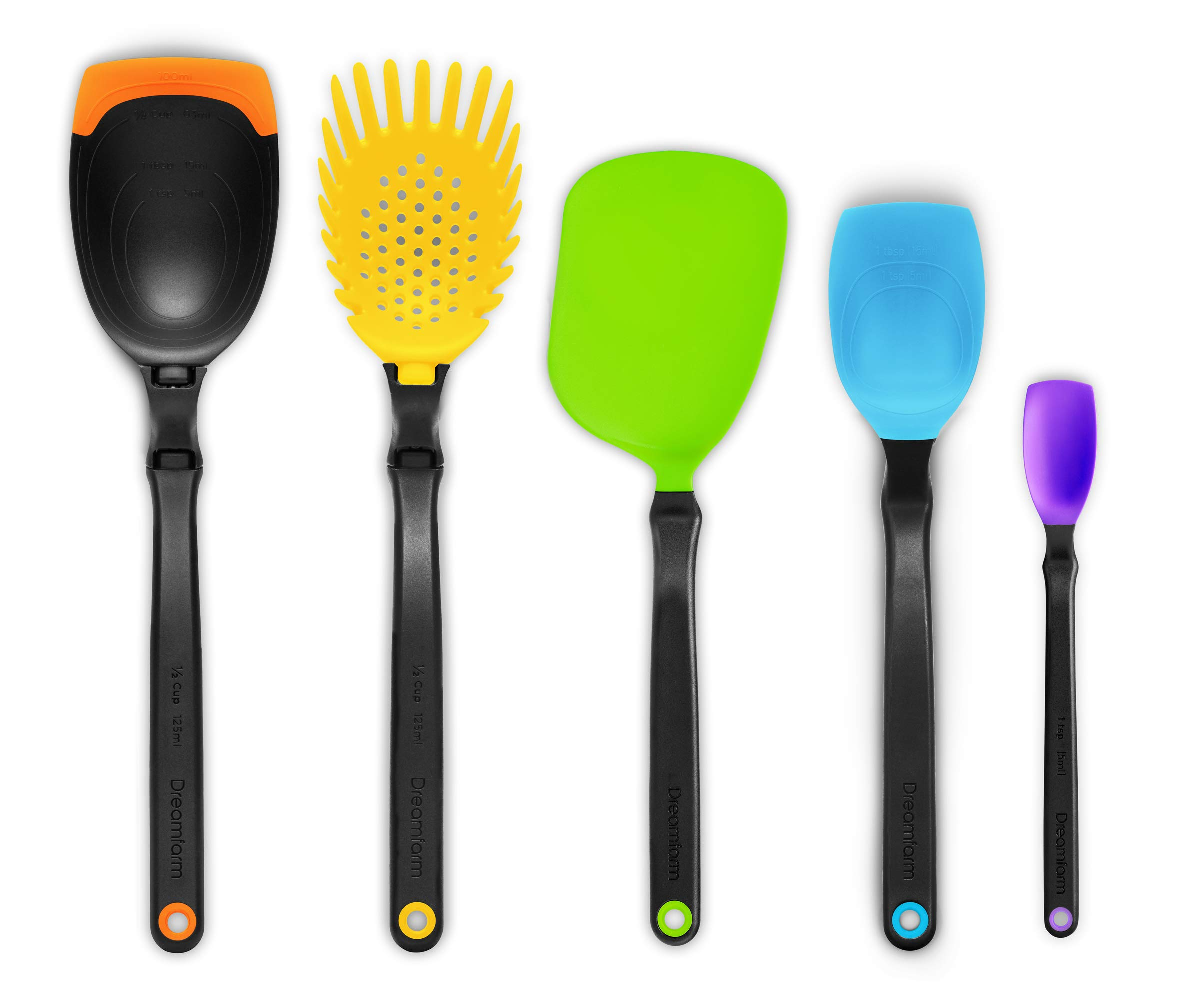 Dreamfarm Set of the Best - Essential Kitchen Tool Collection - Includes Spadle, Holey Spadle, Chopula, Supoon and Mini Supoon (Assorted Colors) by Dreamfarm