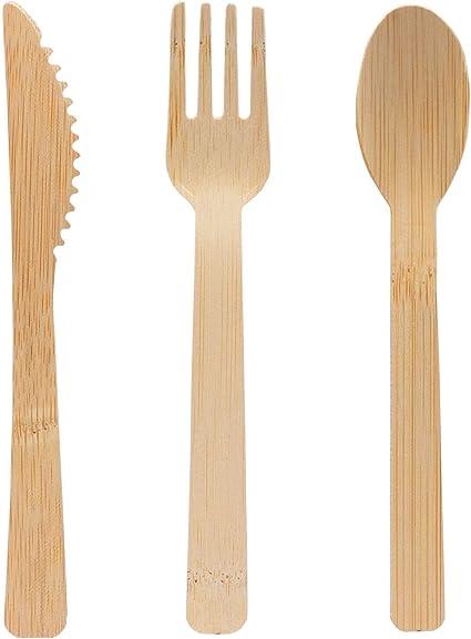 4BIG.fun - Juego de 6 cubiertos de bambú 100% desmontables ...