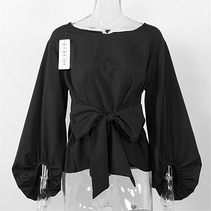 xiaohuihuihui Chiffon Wrap Blouse Women Shirts Autumn 2018 Fashion Lantern Long Sleeve Blouses With Bow Belt