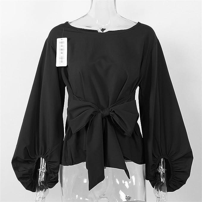 xiaohuihuihui Chiffon Wrap Blouse Women Shirts Autumn 2018 Fashion Lantern Long Sleeve Blouses With Bow Belt