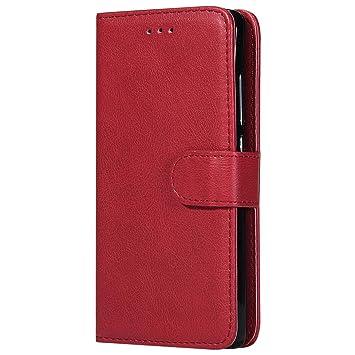 DENDICO Funda Huawei P8 Lite 2015 2016, Ultra-Fina Flip Libro Carcasa de Cuero, Piel Protección Cover para Huawei P8 Lite 2015/2016 - Rojo