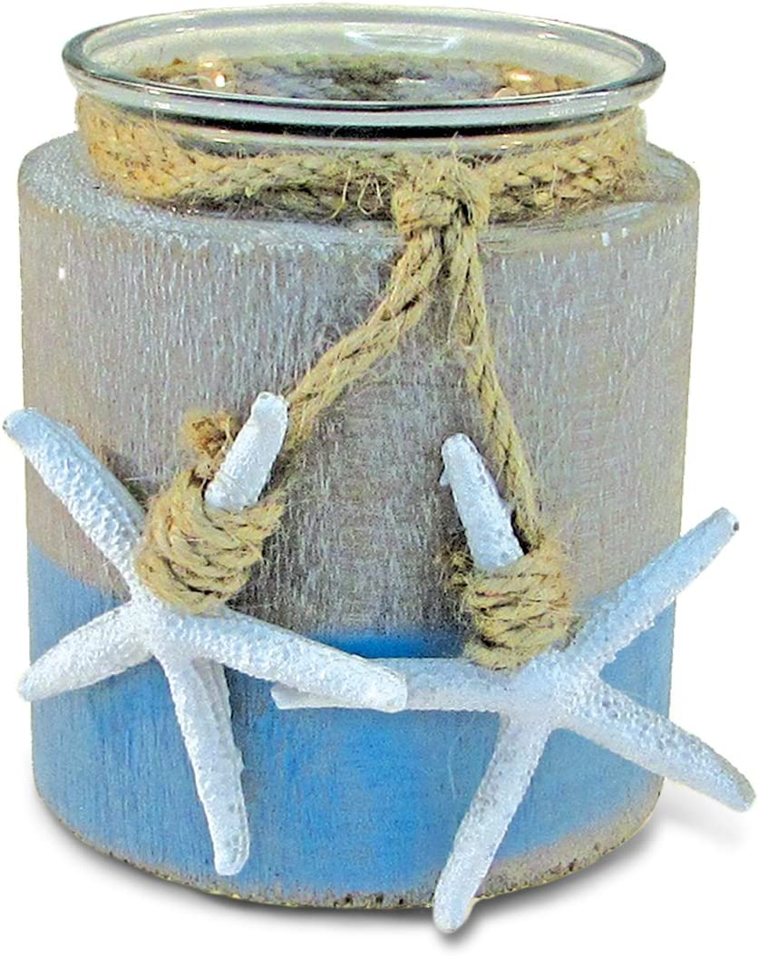 Puzzled Ocean Breeze Pillar Candle Holder - Nautical Themed Tea Light Holders, Beach Candle Holder Decor for Tabletop, Novelty White Starfish Resin Figurine, Coastal Table Decor Centerpiece - 3.5""