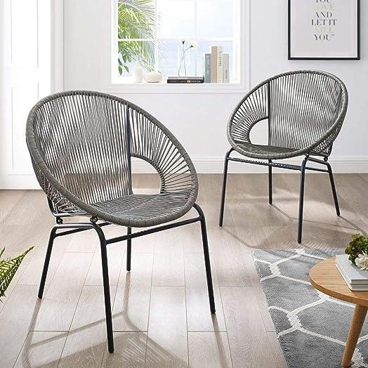 Corvus Sarcelles Woven Wicker Patio Chairs Set of 2 Wicker Chairs, Patio Chairs Grey