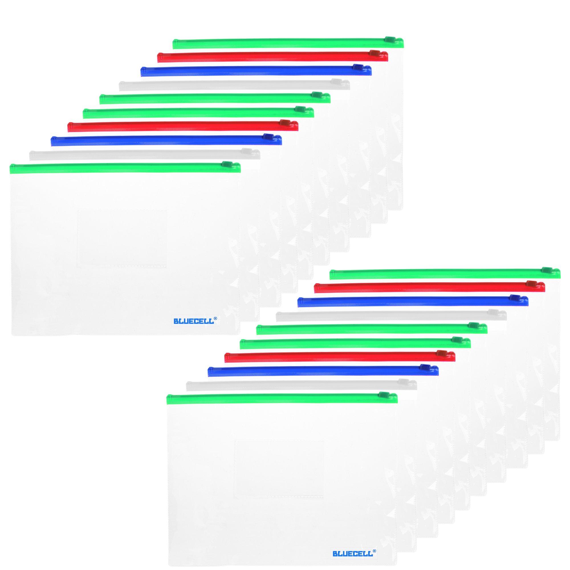 BCP 20pcs Clear Color Zip Up PVC A5 Paper Document File Bill Zipper Bag Pencil Pouch