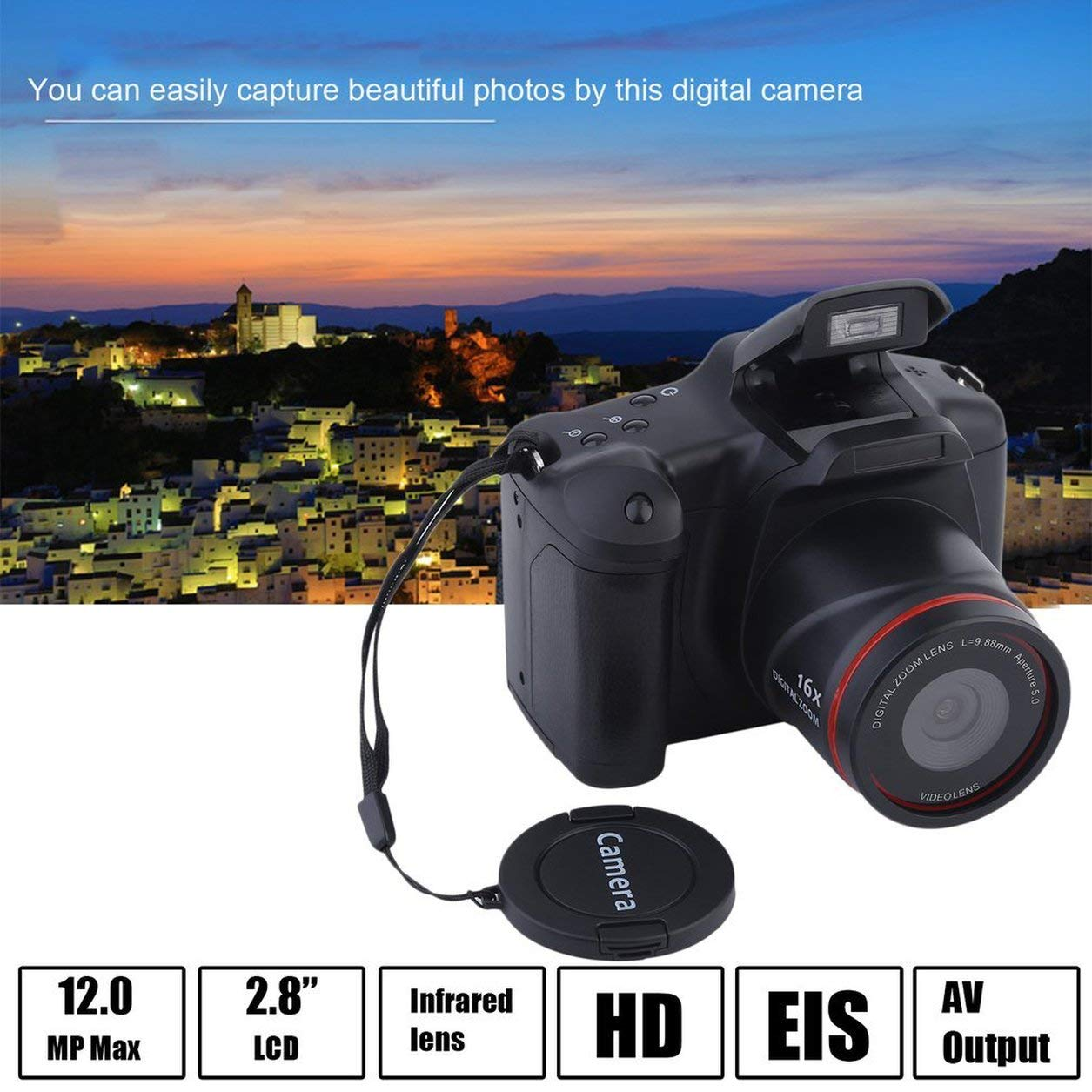 Portable HD Digital Medium/Long Focus SLR Camera Anti-Shake DV Camcorder