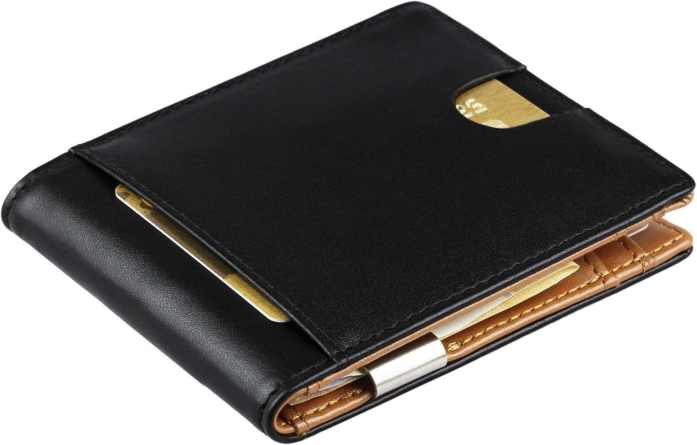 Cartera de Hombre con Pinza para Billetes y Monedero - Billetera pequeña de Piel auténtica con protección RFID, Regalos para Hombres, Negro/marrón