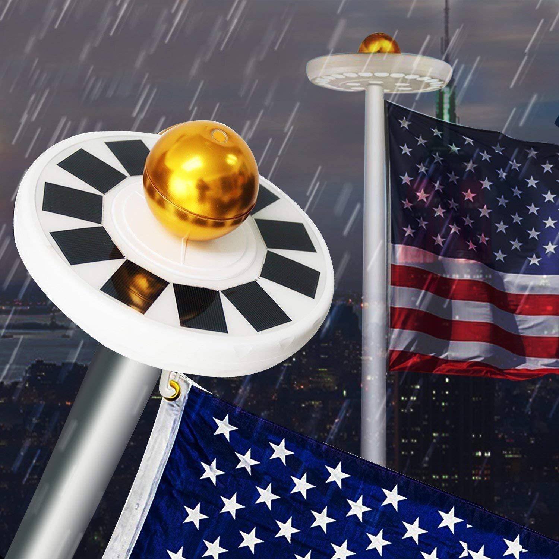 AVOMAR Solar Flag Pole light 30 LED Flagpole Downlight Weatherproof Night Light for 15 to 25 Ft Flag Pole