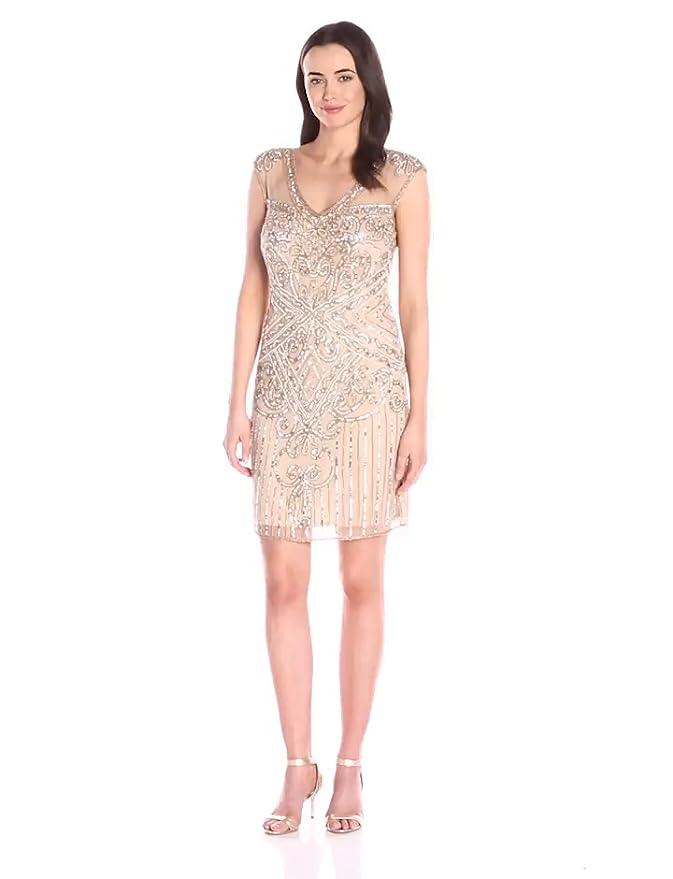 Where to Buy 1920s Dresses Pisarro Nights Womens Short 3/4 Sleeve Illusion Beaded Dress $188.00 AT vintagedancer.com