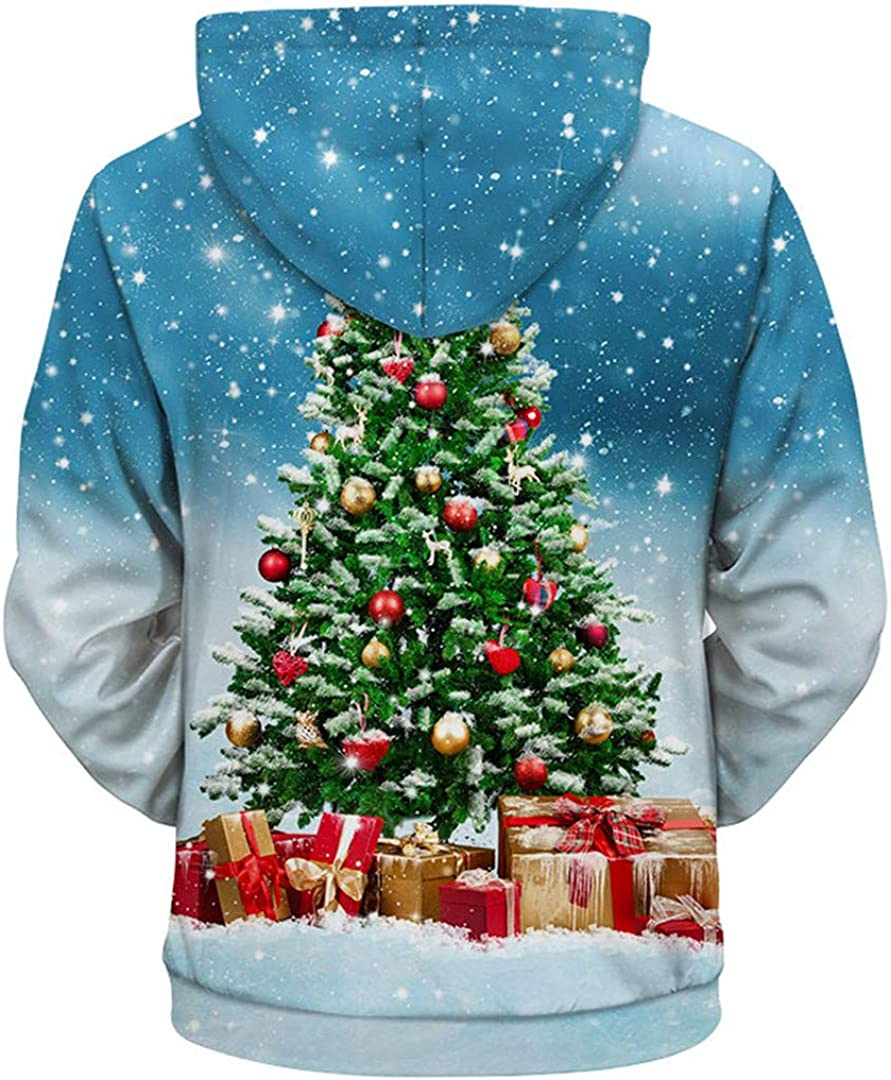 YT-TOMSEMS Christmas Hoodies Men Women Christmas Tree Print Hooded Hoodies Cool Sweatshirts