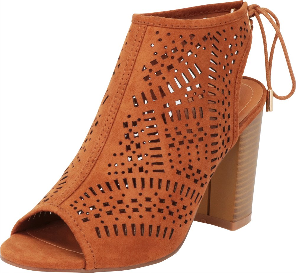 12f6c854408 Cambridge Select Women s Open Toe Laser Cutout Caged Slingback Chunky  Stacked Block Heel Ankle Bootie
