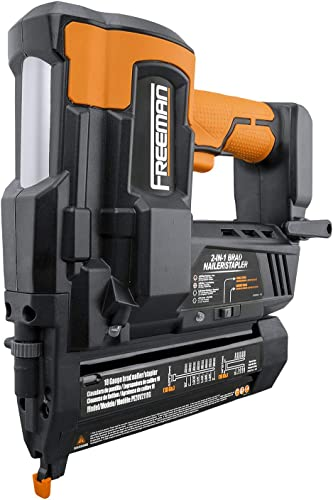 Freeman PE20V2118G Cordless 20V 2-in-1 18 Gauge 2 Nailer and Stapler with Batteries, Case, and Fasteners