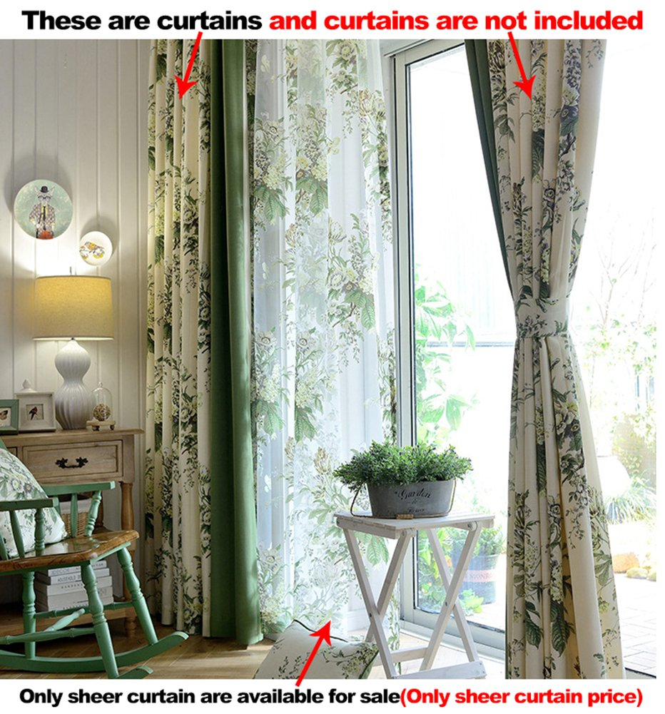 Aside Bside Rod Pocket Top Permeable Window Decoration Nature Style Jasmine Floral Printed Sheer Curtains For Child Room Houseroom and Sitting Room (1 Panel, W 52 x L 63 inch, Green)