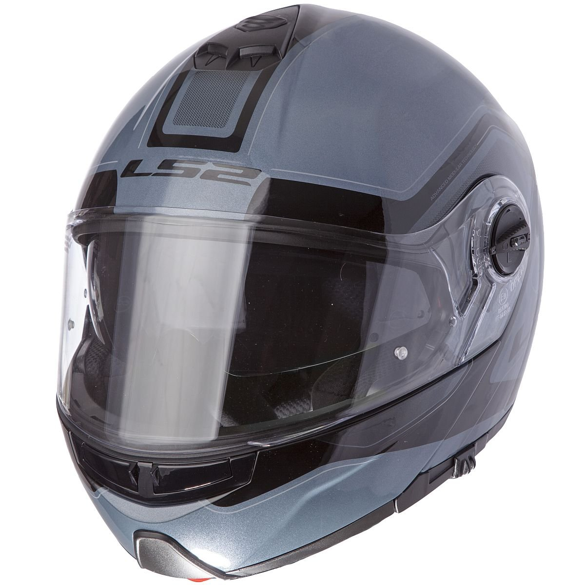 LS2 Helmets Strobe Civik Modular Motorcycle Helmet with Sunshield (Dark Blue, Medium)