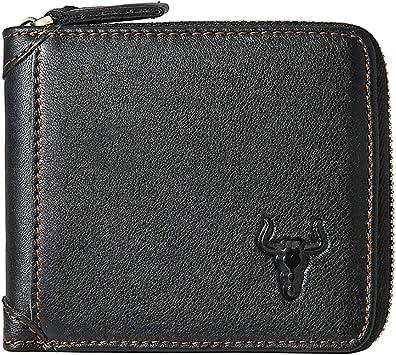 New Black Mens Bi-fold Genuine Leather Multi Window ID Pocket Wallet Zip Classic