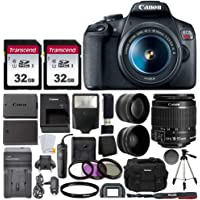 Canon EOS Rebel T7 Digital SLR Camera with EF-S 18-55mm f/3.5-5.6 is STM Lens + 64GB Memory Card + Wide Angle and…