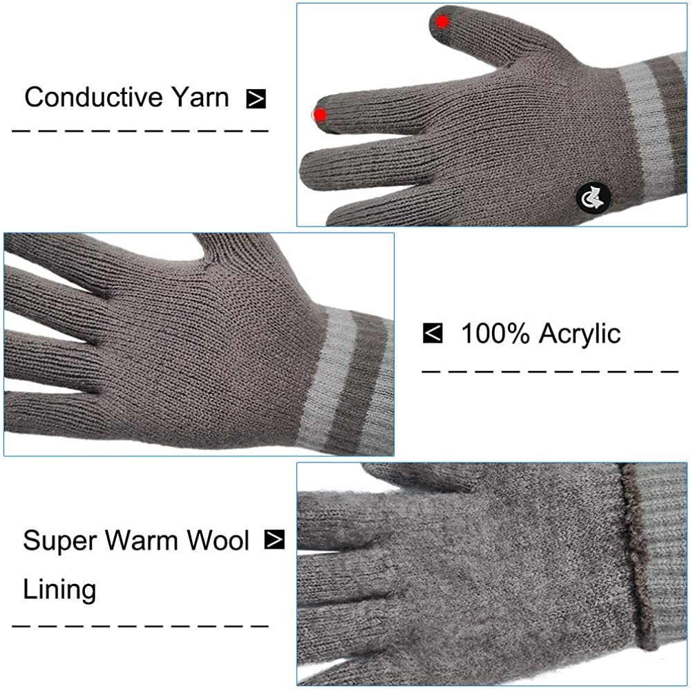 LETHMIK Thick Touchscreen Knit Gloves,Mens/&Womens Winter Solid Color Knitted Warm Wool Lined Texting Gloves