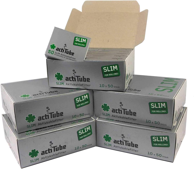 150 Juego de filtros de carb/ón activo Slim Kogu incluye un saverette 3x50 7,1 mm actiTube
