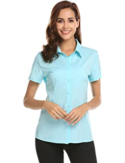 5d83a2f21c18 Imposes Damen Chiffon Bluse Kurzarm Klassische Polo Shirts Oberteil  Kurzarmshirt Business Casual