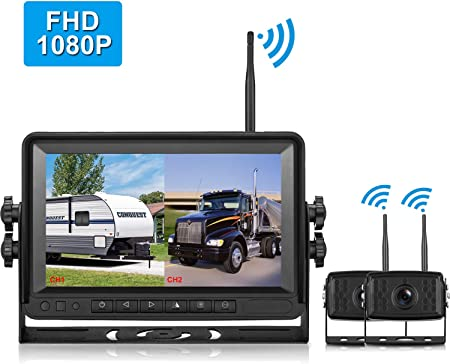 LeeKooLuu FHD1080P Digital Wireless Rear View Dual Camera, 7 Monitor IP69K Waterproof Color Night Vision High-Speed Observation System Backup Camera for RVs.Trailers,Box Truck Motorhomes,5th Wheels