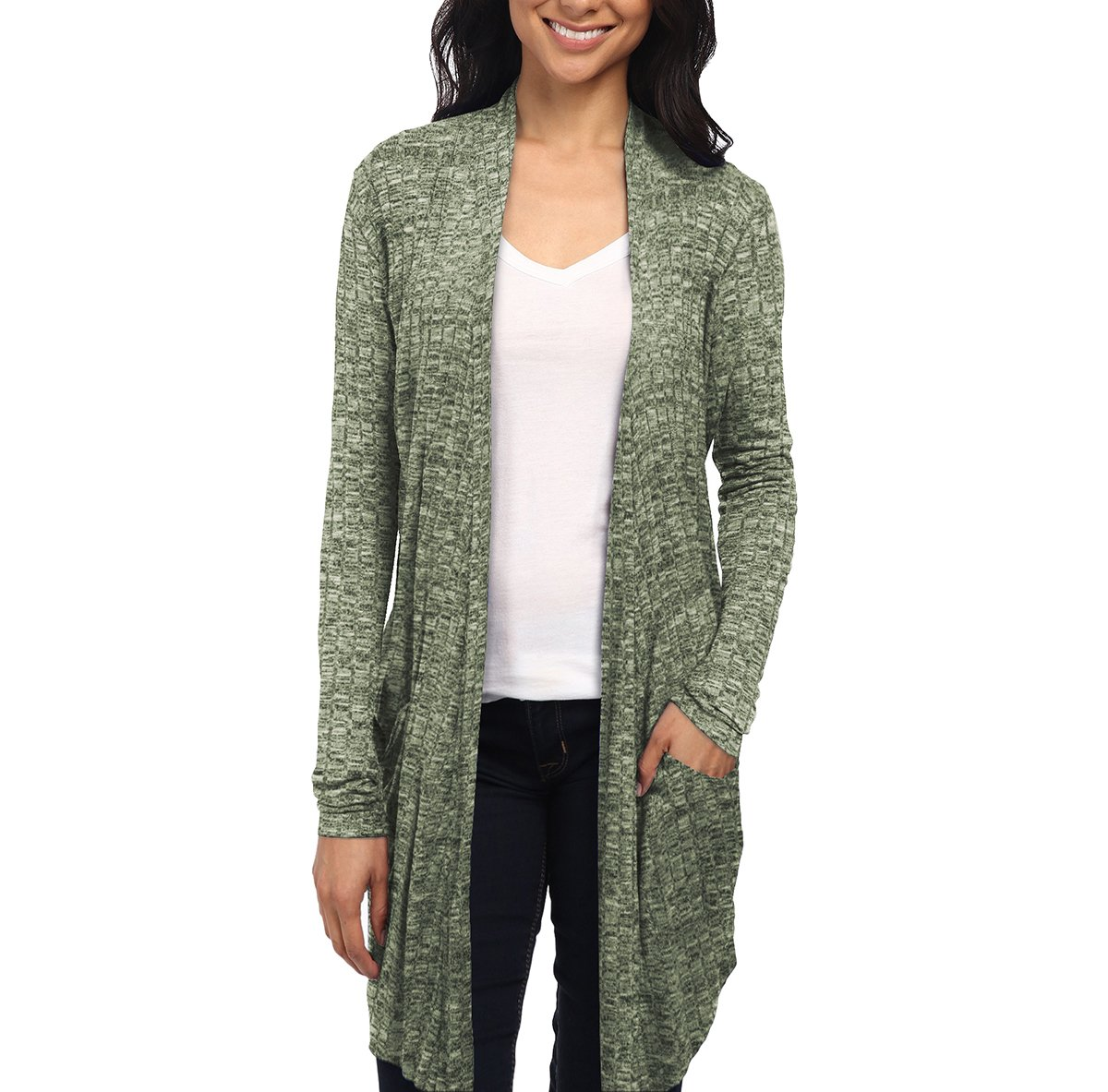 HyBrid & Company Womens Casual Open Front Drape Cardigan KSKW31127X Olive 2X