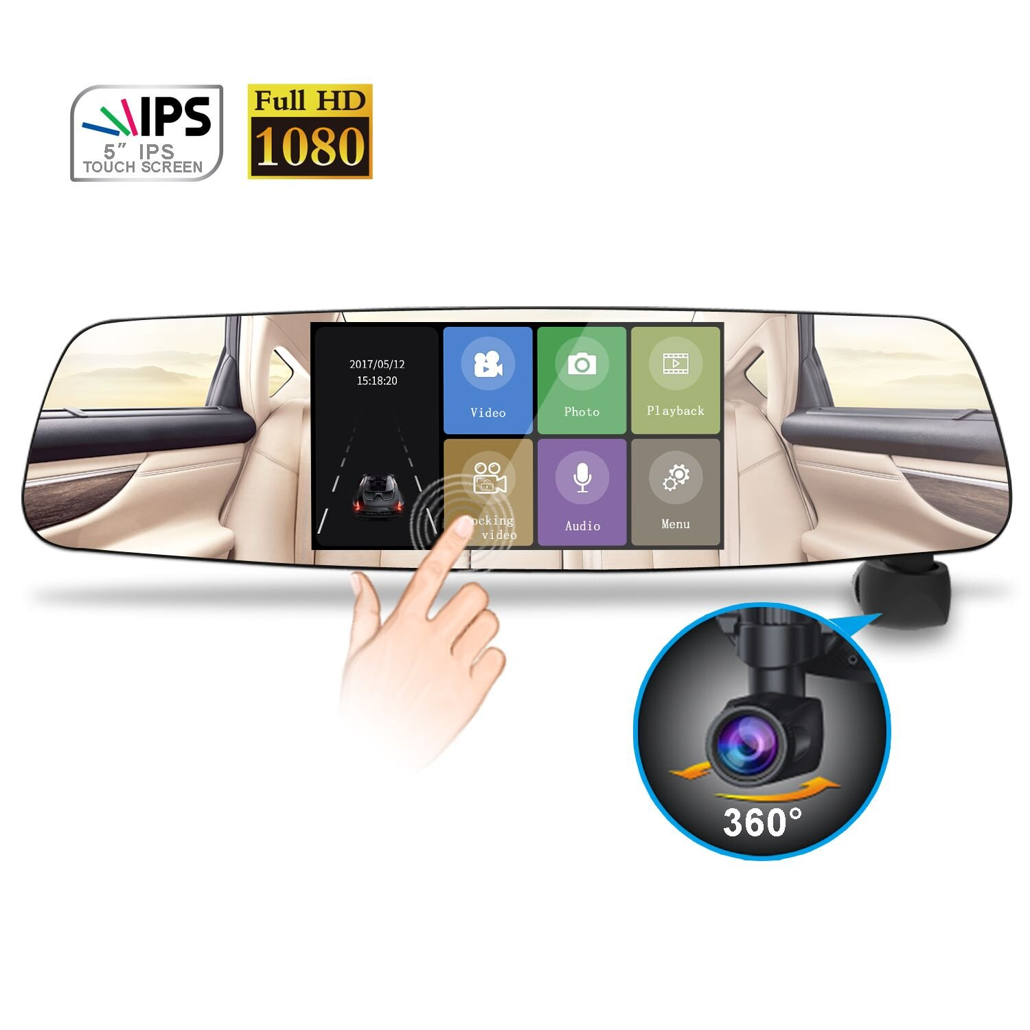 Mirror Dash Cam 360° Automatically Rotatable Car Camera, Camboss 1080P HD 5.0 Inch IPS Touch Screen