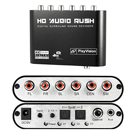 ASDOMO Digital 5.1 Channel Output DTS Stereo RCA Audio Rush Sound Decoder HD Player