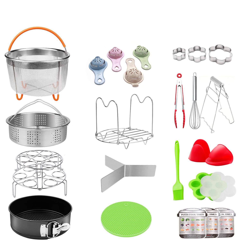 25 Pieces Pressure Cooker Accessories Set Compatible with Instant Pot 6,8 Qt - 2 Steamer Baskets, Springform Pan, Stackable Egg Steamer Rack, Egg Beater, 2 Silicone Trivet Mats, Egg Bites Mold