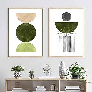 Mid Century Wall Art Boho Wall Decor Sun Art Print Boho Wall Prints Olive Green Wall Art Abstract Watercolor Painting Canvas Prints for Home Decor Mid Century Modern Wall Decor 16x24inchx2 No Frame