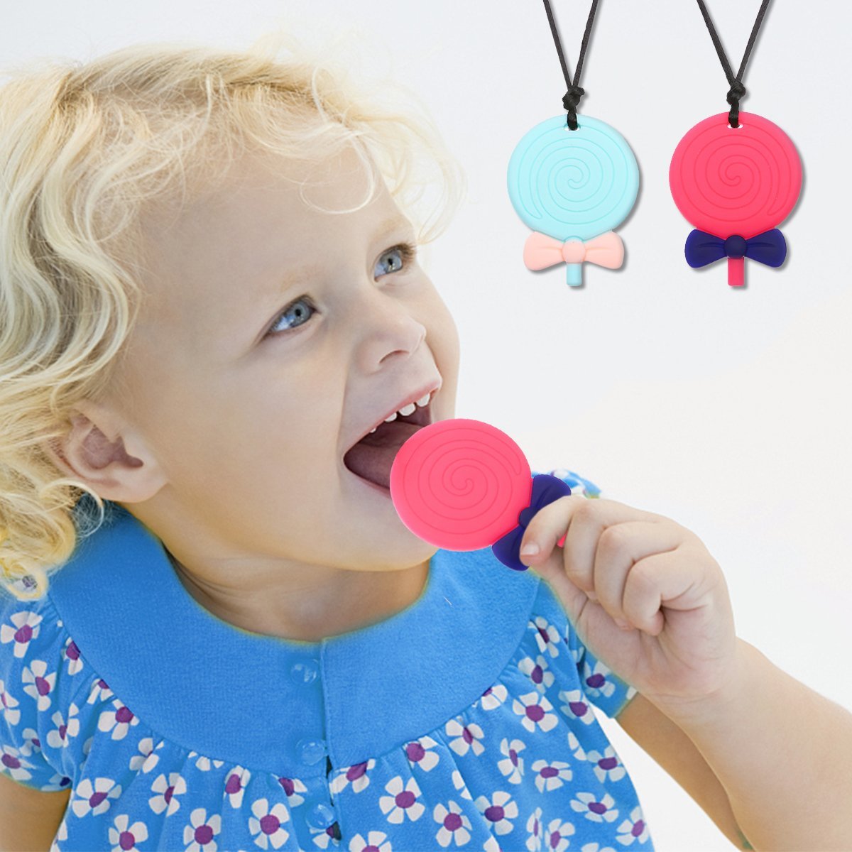 FUNTOK Chupete molar Lollipop 2 piezas, Chew collar para ...