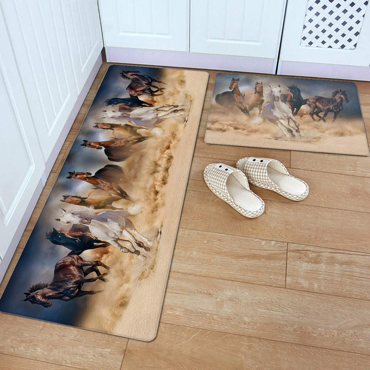KRWHTS Kitchen Mat Set 2 PCS 16X24in(40x60cm)+16X48in(40x120cm) Horses Running in The Desert, Throw Rugs Non-Slip All-Purpose Carpet for Bedroom Kitchen Home Decorate