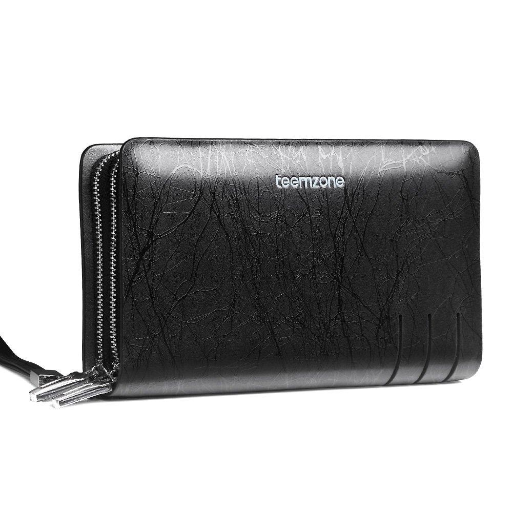 202b99ce32 Teemzone pochette pour homme portefeuille homme sac avec étui à cartes en cuir  véritable porte monnaie avec bracelet