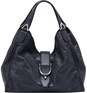 02319f2cbb6 Gucci Stirrup Black Washed Soft Calf Leather Medium Hobo Bag 296856 1000